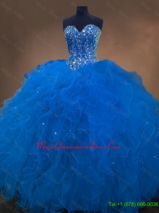 2016 Discount Sweetheart Beaded Blue Quinceanera Dresses with Ruffles