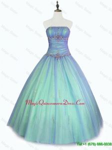 2016 Perfect Beaded Floor Length Sweet 16 Dresses with Strapless