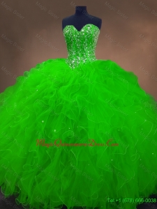 2016 Perfect Beaded Spring Green Sweet 16 Gowns with Ruffles