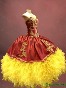 2016 Beautiful Wine Red and Yellow Sweet 16 Dresses with Appliques and Ruffles