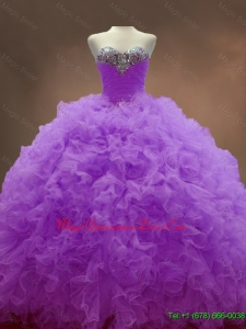 2016 Exclusive Sweetheart Lilac Quinceanera Dresses with Beading and Ruffles
