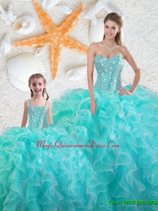 2015 Winter Beautiful Aqua Blue Quinceanera Macthing Sister Dresses with Beading and Ruffles