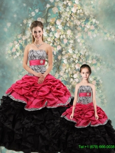 2015 Winter Perfect Strapless Zebra Macthing Sister Dresses in Multi Color