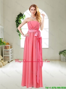 Beautiful Strapless Dama Red Bridesmaid Dresses with Sash