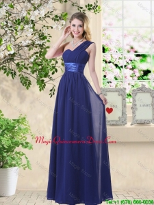 Cheap One Shoulder Floor Length Dama Dresses in Navy Blue