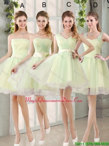 Custom Made Mini Length Dama Dresses in Yellow Green