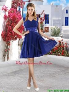 Discount V Neck Short Dama Dresses in Royal Blue