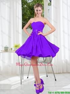 2016 Fall A Line Sweetheart Dama Dress in Purple