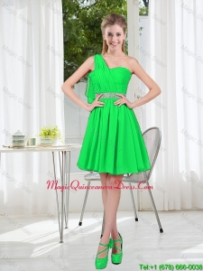 2016 Fall Short One Shoulder Beading Dama Dress with