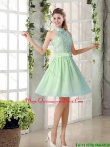 Fashionable 2016 Short Dama Dresses with High Neck