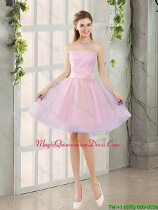 2016 Fall A Line Strapless Ruching Dama Dresses with Belt