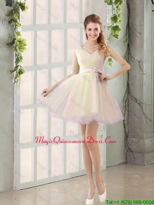 2016 Fall V Neck Strapless Dama Dresses with Bowknot