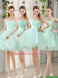 2016 Spring A Line Ruching Dama Dresses with Belt in Apple Green