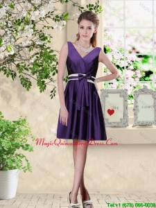 Discount V Neck Zipper Up Dama Dresses in Dark Purple