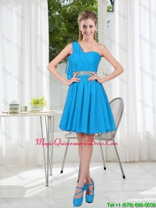 Affordable Short One Shoulder Dama Dress with Beading