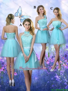 Beautiful A Line Aqua Blue Dama Dresses with Appliques