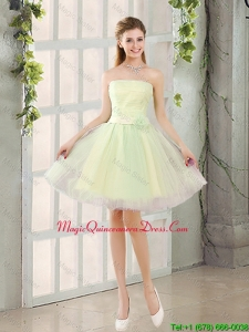 Custom Made A Line Strapless Tulle Dama Dresses with Belt