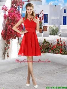 Simple Ruched Red V Neck Dama Dresses with Belt
