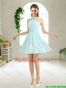 Cheap Halter Top Belt Light Blue Dama Dresses for 2016
