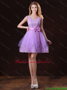 Discount V Neck Tulle Dama Dresses with Bowknot