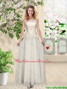 Perfect Champagne Dama Dresses with Appliques and Lace