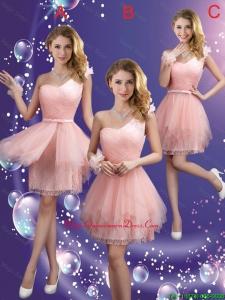 Popular One Shoulder and Belt Dama Dresses in Pink