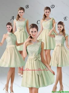 Custom Made A Line Lace Dama Dresses with Hand Made Flower