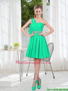 Custom Made A Line One Shoulder Dama Dresses