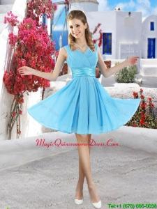 Popular Mini Length 2016 Dama Dresses in Aqua Blue
