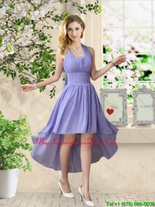 Beautiful Halter Top Ruched Dama Dresses with High Low