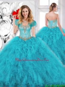 2016 Spring Modest Beading Sweetheart Quinceanera Dresses in Aqua Blue