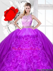 2016 Summer Perfect Beaded and Ruffles Detachable Sweet 16 Dresses with Scoop