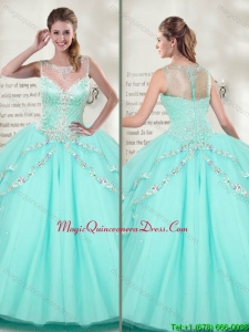 Best Selling Scoop 2016 Mint Quinceanera Dresses with Beaded