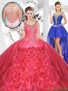 Popular Beaded and Ruffles Detachable Sweet 16 Dresses for 2016