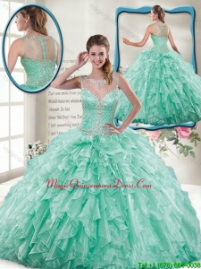 Summer Pretty Mint Quinceanera Gowns with Beading and Ruffles