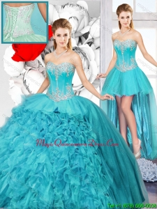 2015 Winter Best Selling Sweetheart Detachable Quinceanera Gowns with Beading