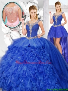 2015 Winter Perfect Ball Gown Beaded Detachable Quinceanera Dresses with Scoop