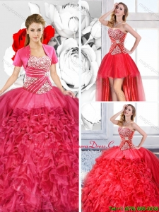 2015 Winter Pretty Sweetheart Detachable Quinceanera Dresses with Ruffles