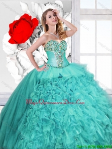 2016 Spring Classical Ruffles and Beaded Quinceanera Gowns in Turquoise