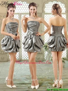 New Style Short Strapless Silver Prom Dresses with Pick Ups