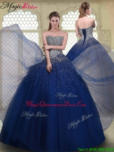 Gorgeous Ball Gown Strapless Quinceanera Gowns in Navy Blue