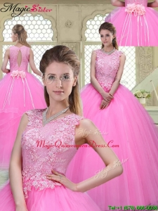 Popular Scoop Hand Made Flowers Sweet 16 Dresses with Brush Train