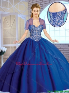 Classical Beading Sweetheart Quinceanera Gowns in Royal Blue