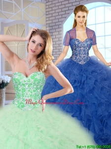 Luxury Ball Gown Sweet 16 Dresses with Beading and Ruffles