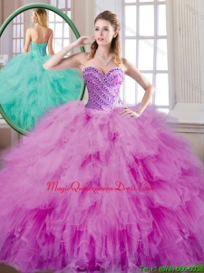 Luxury Beading and Ruffles Quinceanera Dresses in Fuchsia