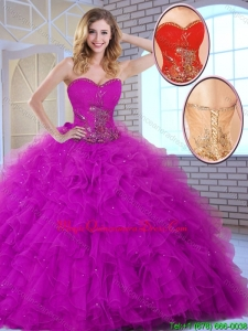 New Style Ball Gown Sweetheart Quinceanera Dresses in Fuchsia