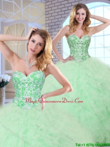 2016 Cheap Beading and Ruffles Apple Green Quinceanera Dresses