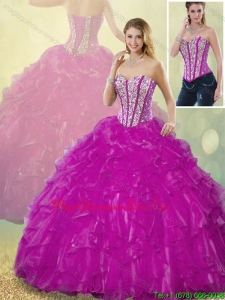Latest Luxury Ball Gown Fuchsia Quinceanera Dresses with Beading