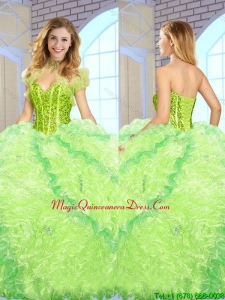 Luxurious Beading and Ruffles Quinceanera Gowns in Multi Color for 2016