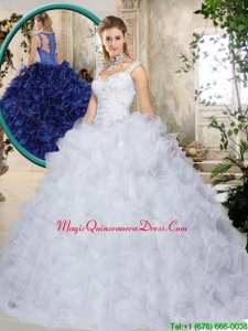 Luxury Brush Train Straps Quinceanera Dresses with Beading and Ruffles